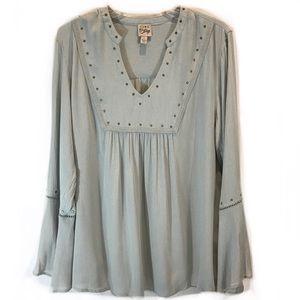 49fd5d993b17f Como Vintage Studded Bell Sleeve Flowy Tunic Top L